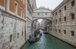 View of the Bridge of Sighs Ponte dei Sospiri with the typical gondolas in Venice, Venezia, Italy. View of the Bridge of Sighs Ponte dei Sospiri with the stock photo