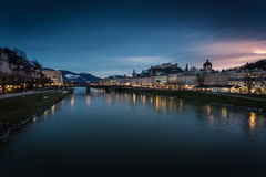 View from bridge on sunset over Salzburg, Austria Royalty Free Stock Images