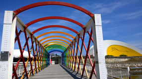 View of the bridge to access to the Niemeyer Center building, in Aviles, Spain Stock Image