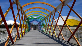 View of the bridge to access to the Niemeyer Center building, in Aviles, Spain Stock Photography