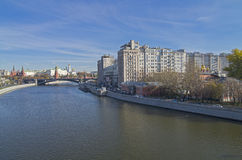 View from the bridge to the center of Moscow. Royalty Free Stock Photo