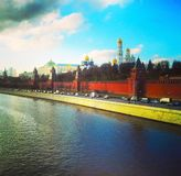 View from the bridge to the Kremlin, Moscow river and Moscow City. Moscow, Russia.  Royalty Free Stock Image