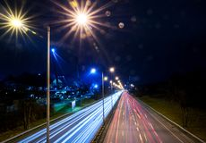View from a bridge to the traffic at night Royalty Free Stock Images
