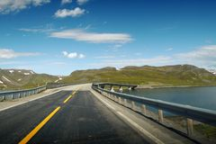 View on a bridge on the way to the North Cape. stock photography