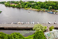 View of the bridge and Wharf of yachts in the historical center of Vyborg Stock Photos
