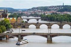 View on bridges across Vltava river Royalty Free Stock Photos