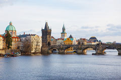 View of the bridges on cold spring or autumn day, Prague, the Cz. View of the Vltava River and the bridges on cold rainy spring or autumn day, Prague, the Czech Stock Image