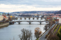 View of the bridges on cold spring or autumn day, Prague, the Cz. View of the Vltava River and the bridges on cold rainy spring or autumn day, Prague, the Czech Stock Photos
