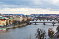 View of the bridges on cold spring or autumn day, Prague, the Cz. View of the Vltava River and the bridges on cold rainy spring or autumn day, Prague, the Czech Stock Photography