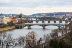 View of the bridges on cold spring or autumn day, Prague, the Cz Royalty Free Stock Images