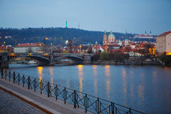 View of the bridges on cold spring or autumn morning, Prague, th. Panorama view of Prague on cold rainy spring or autumn morning, the Czech Republic Stock Photo