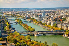 View of the bridges from the Eiffel Tower in Paris, France. Stock Photos
