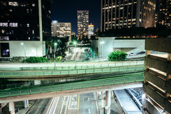 View of bridges over Flower Street at night, in downtown Los Ang Stock Photo