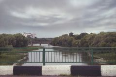 View of the bridges over the river Hoper in the city of Balashov.  Royalty Free Stock Images