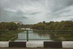 View of the bridges over the river Hoper in the city of Balashov.  Stock Photography