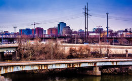 View of bridges over the Schuylkill River and West Philadelphia, Royalty Free Stock Photography