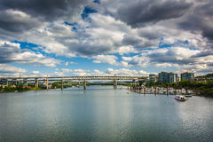 View of bridges over the Williamette River in Portland  Royalty Free Stock Photography