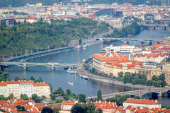 View of the bridges in Prague from Petrin tower Stock Photography