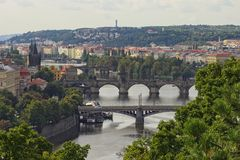 View of bridges on the Vltava river and historical center of Prague,buildings and landmarks of old town,Prague,Czech Rapublic Stock Image