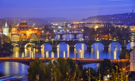 View of bridges on Vltava River at night stock photo