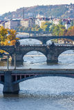 View of bridges on Vltava river Royalty Free Stock Image