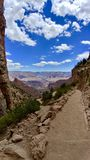 View from Bright Angel Trail at Grand Canyon National Park Arizona. This is the trail they take the mules down to the bottom stock images