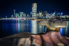View on bright Brisbane from coast stock photography