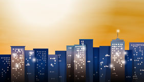 A view of the bright city. Illustration of a view of the bright city Royalty Free Stock Photos