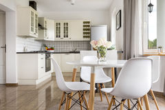View of the bright open plan kitchen royalty free stock image