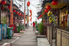 View on bright sidewalk in George town Stock Photos