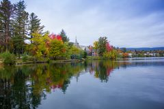 Fall colors in North America. A view of the brilliant and eclectic colors that take over the entire Adirondacks region in New York state of USA during the peak royalty free stock images