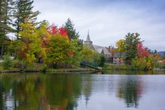 Fall colors in North America. A view of the brilliant and eclectic colors that take over the entire Adirondacks region in New York state of USA during the peak royalty free stock photo