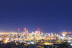 View of the Brisbane City from Mount Coot-tha Stock Photos