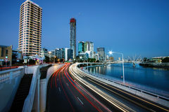 View of Brisbane City from the William Jolly Bridge Royalty Free Stock Images
