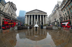 The Royal Stock Exchange, London, England, UK. View of British financial heart, Bank of England and Royal Exchange. Shot made âEUR stock photos