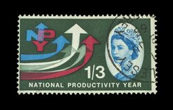 Colourful british postage stamps stock image