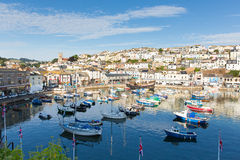 View of Brixham Devon England during the heatwave of Summer 2013. Brixham harbour Devon England with boats on a calm day with blue sky during the heatwave of Royalty Free Stock Photo