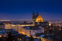 A view of Brno Cathedral and skyline at night, Brno, Czech Republic, Europe - February 22nd 2018 stock image