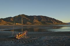 A view of a broken beach chair at the great salt lake Stock Photography