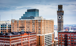 View of the Bromo-Seltzer Tower from a parking garage in Baltimo Stock Photo
