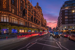 View of Brompton Road in Knightsbridge, London UK Stock Images
