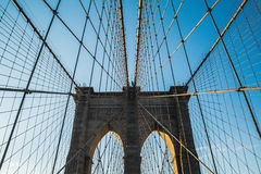 View on Brooklin bridge and blue sky in sunset. Stock Images