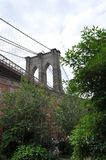 View of the Brooklyn Bridge from a Garden Stock Image
