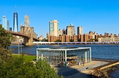 View of Brooklyn Bridge and Lower Manhattan Skyline royalty free stock images