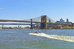 View on Brooklyn bridge and Manhattan bridge above East River Royalty Free Stock Image