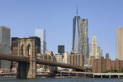 View of Brooklyn Bridge and Manhattan from the river Stock Photo