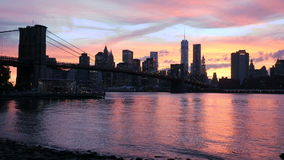 View on the Brooklyn Bridge and Manhattan, sunset stock footage