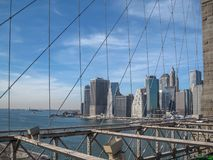 View from the Brooklyn Bridge in 2009. NYC Royalty Free Stock Images