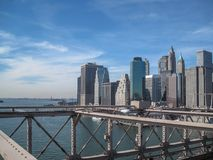 View from the Brooklyn Bridge in 2009. NYC vector illustration