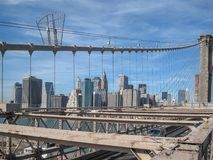 View from the Brooklyn Bridge in 2009. NYC stock illustration
